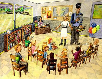 Drawing - In The Classroom by Larry Whitler