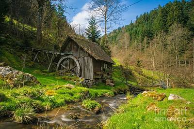 In The Countryside - Old Barn Near River Art Print