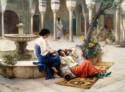 Concubine. Harem Girl Painting - In The Courtyard Of The Harem by Max Ferdinand Bredt