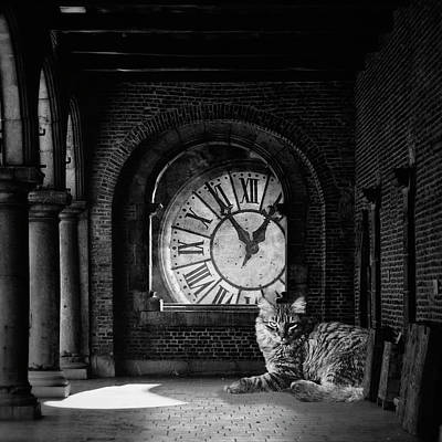 Black Cat Clock Photograph - In The Darkest Hour by Studio Yuki
