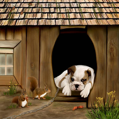 Pug Digital Art - In The Dog House by Thanh Thuy Nguyen