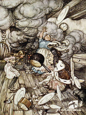 Duchess Drawing - In The Duchesss Kitchen by Arthur Rackham