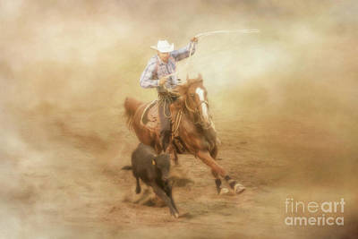Digital Art - In The Dust Rodeo Calf Roping by Randy Steele