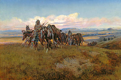 Horse Painters Painting - In The Enemy's Country by Charles Marion Russell
