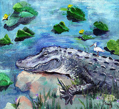 Alligator Mixed Media - In The Everglades by Cecily Mitchell