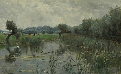 In The Floodplains Of The River Ijssel Art Print by Willem Roelofs