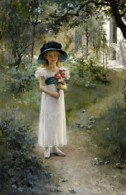 Painting - In The Garden by Albert Edelfelt
