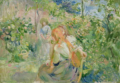 Sit-ins Painting - In The Garden At Roche Plate by Berthe Morisot