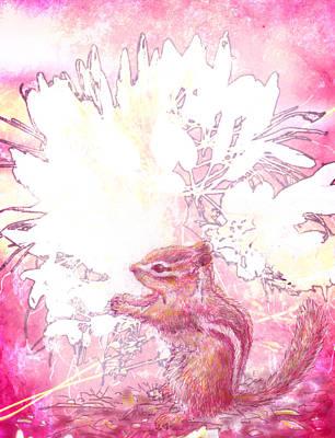 North American Wildlife Mixed Media - In The Garden - Chipmunk by Martin Denault