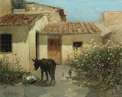 Greek Art Painting - In The Garden  by Konstantinos Volanakis