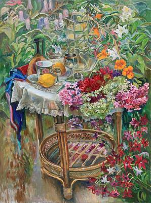 Painting - In The Garden by Maya Gusarina