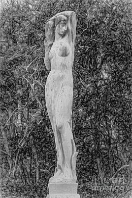 Photograph - In The Garden - Pencil Sketch by Kathleen K Parker