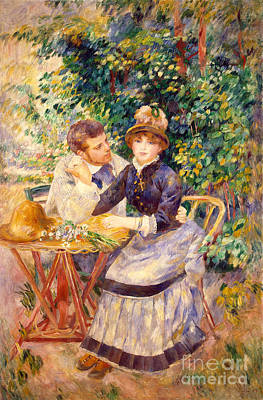 Flirtation Painting - In The Garden by Pierre Auguste Renoir