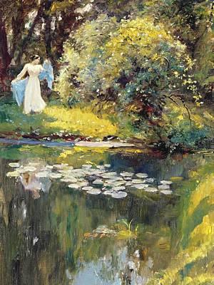 Lily Pond Painting - In The Garden by Sir Hubert von Herkomer