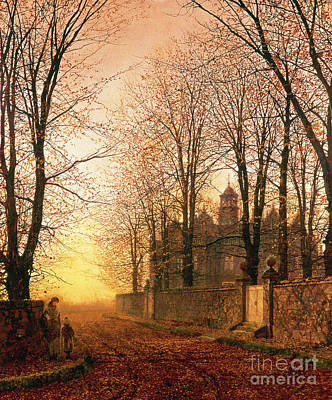 Fallen Leaf Painting - In The Golden Olden Time by John Atkinson Grimshaw