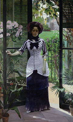 Early Painting - In The Greenhouse by Albert Bartholome