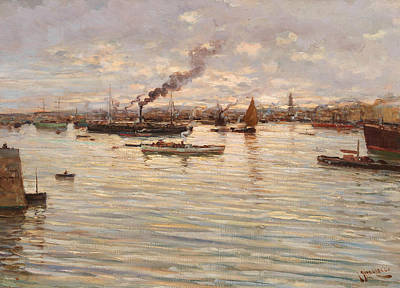 Italian Landscapes Painting - In The Gulf Of Naples by Giuseppe Giardiello