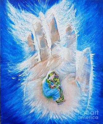 Wall Art - Painting - In The Hand Of God by Debra Link