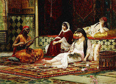 Concubine. Harem Girl Painting - In The Harem by Filippo Baratti