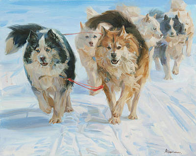 Husky Painting - In The Harness by Victoria Kharchenko