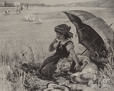 Joyful Drawing - In The Harvest Field, Guardians Of The Luncheon Basket by Frederick Morgan