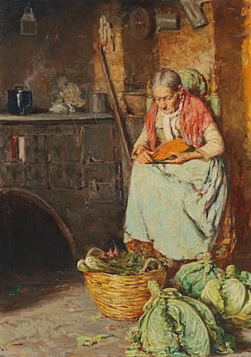 Italian Kitchen Painting - In The Kitchen by Giuseppe Giardiello