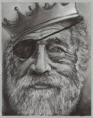 Eye Patch Drawing - In The Land Of The Blind The One-eyed Man Is King by LE Williams