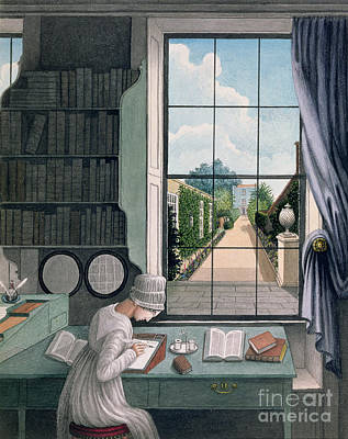 Library Painting - In The Library, St. James' Square by Thomas Pole
