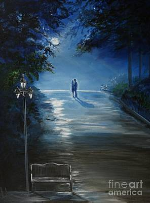 In The Loving Moonlight Art Print by Leslie Allen