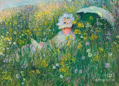 Painted Ladies Painting - In The Meadow by Claude Monet