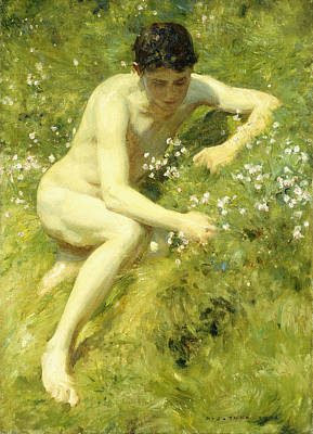 In The Meadow Art Print by Henry Scott Tuke