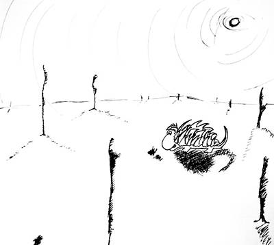 Childlike Drawing - In The Middle Of Nowhere by Jera Sky