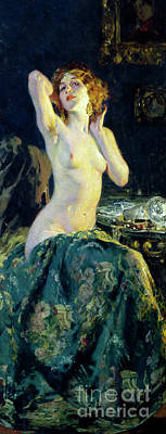 Semi-nude Painting - In The Mirror by Giacomo Grosso