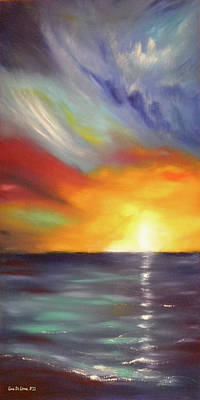 Painting - In The Moment - Vertical Sunset by Gina De Gorna