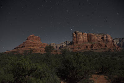Photograph - In The Moonlight Bell Rock Courthouse Butte Sedona by Steven Barrows