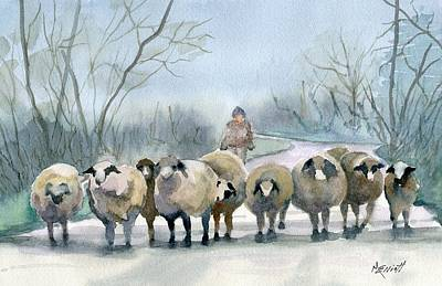 Sheep Painting - In The Morning Mist by Marsha Elliott