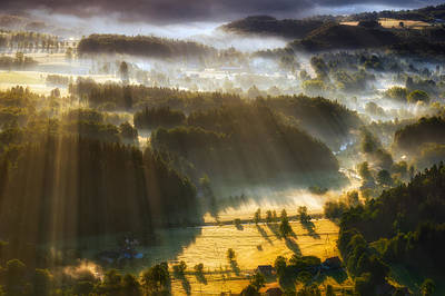 In The Morning Mists Print by Piotr Krol (bax)