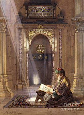 Persian Carpet Painting - In The Mosque by Carl Friedrich Heinrich Werner