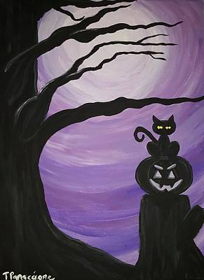 Cat Painting - In The Night by Tina White