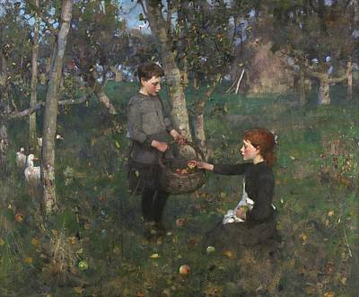 Apple Picking Painting - In The Orchard by Mountain Dreams