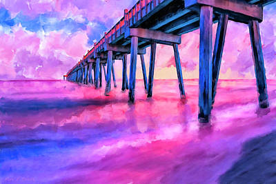 Mixed Media - In The Pink On Pensacola Beach by Mark Tisdale