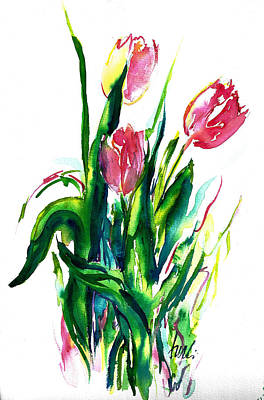 In The Pink Tulips Art Print