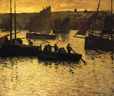 Mooring Painting - In The Port by Charles Cottet