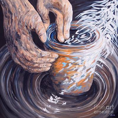 Shower Curtain Painting - In The Potter's Hands by Eloise Schneider