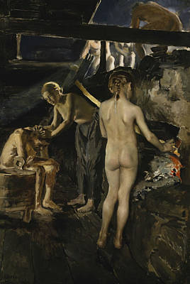 Painting - In The Sauna by Akseli Gallen-Kallela