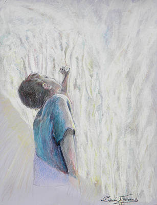 Little Boy Mixed Media - In The Shadow Of His Wing by Beau Ettestad