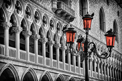Selective Color Photograph - In The Shadow Of The Doges Palace Venice by Carol Japp
