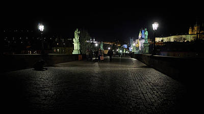 Whimsically Poetic Photographs Rights Managed Images - In the Shadows of the Charles bridge. Prague spring 2017 . Prague by night Royalty-Free Image by Jouko Lehto