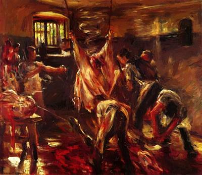 Painting - In The Slaughter House 1893 by Corinth Lovis
