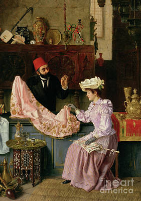 Turkish Painting - In The Souk, 1891 by Moritz Stifter